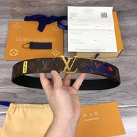 LV Louis Vuitton Women's  Men's Fashion Smooth Buckle Belt Leather Belt Monogram Leather Belt