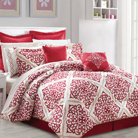 Jessica McClintock Go Boho Damask 10PC Queen Comforter SET
