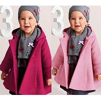 Baby Girls Fall Winter Horn Button Hooded Coat Warm Wool Blend Pea Snowsuit Baby Fashion Jacket Kids Cute Outerwear Clothes