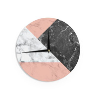 "KESS Original ""Geo Marble and Coral"" Black Art Deco Wall Clock"