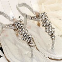 European Style Bling Rhinestone Thong Sandals from styleonline