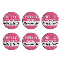 Marguerite Hello My Name Is Plastic Resin Button Set of 6