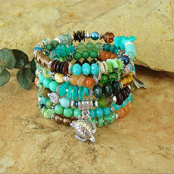 Turquoise Sea Turtle Jewelry, Boho Colorful Beaded Bracelet, Layered Wrap, Deep Ocean Colors, Handmade Bohemian Jewelry by Kaye Kraus