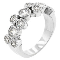Coral Bezel Cubic Zirconia Ring, size : 08