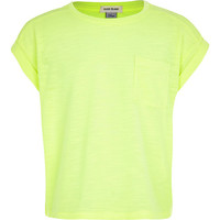 River Island Girls yellow rolled sleeve t-shirt