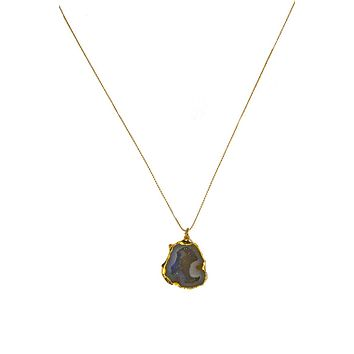 Bailee Geode Stone Pendant Necklace - Gold