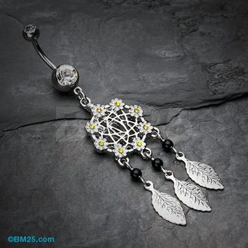 Daisy Glam Dreamcatcher Belly Button Ring