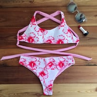 Flower Print Strap Crisscross Bikini Set Swimsuit Swimwear