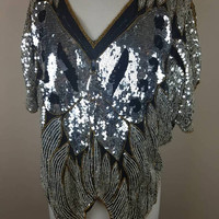 Vintage 1980s sequined butterfly top | silver | extra large sequins shirt blouse
