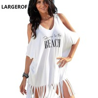 Beach Cover Up Women's Swimsuits Beach Dress Woman Tassel Letter Robe De Plage Swimsuits Women Summer 2018 BK35095