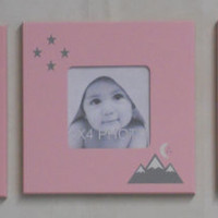 And though she be but little she is fierce / let her sleep for when she wakes she will move mountains, Light Pink Nursery Photo Frame / Sign