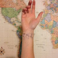 2 World Map Temporary Tattoos - Stocking Stuffer- SmashTat