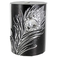 """3"""" x 4"""" Black Candle with Metallic Silver Feather 