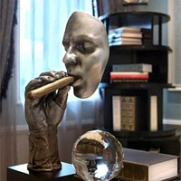 Resin Figurine Artwork Home Decorations Cigar Creative Face Statue Character