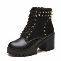Hand Made Urban Lace Up Studded High Heel Rubber Platform Ankle Boots