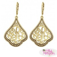 Monogrammed Earrings with Single Scripted Initial