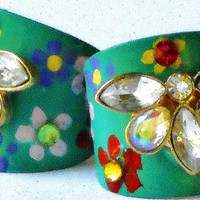 Boho Ring Colorful Hand Painted Flowers Bohemian Dragonfly Jewelry