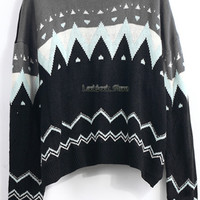 New Winter Geometric Print Crew Neck Loose Stripe Cut Out Knitwear Top Sweater