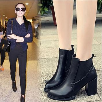 Martin Boots Female Pointed Toe Chunky Heels Ankle Boots