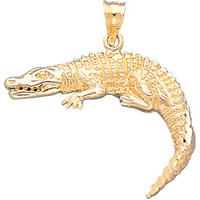 14k gold crocodile pendant.
