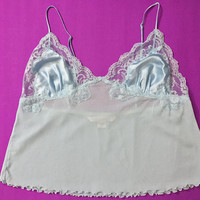 Vtg 90s VICTORIA'S SECRET Pastel Blue Camisole / Sexy Sheer Nylon Classic Lingerie Crop Top / Ruffled Lace Trim / Glossy Satin Fabric Bust