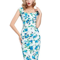 Womens Sexy Elegant Summer Fashion Floral Flower Vintage Dresses Sleeveless Slim Casual Party Fitted Women Sheath Bodycon Dress