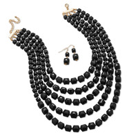 Graduated Multistrand Black Bead Fashion Necklace and Earring Set