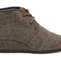 Brown Herringbone Youth Desert Wedges