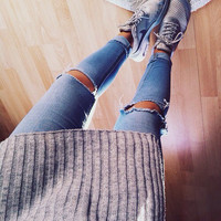 Ripped Jeans- Ripped at the Knee Denim- Grunge Boho Rocker Hippie Frayed Light Wash Dark Wash Grey Black