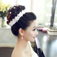 Handmade lace diamond Korean hair band bride headdress headdress flower hair flowers wedding wedding dress accessories = 1929489284