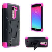 LG K7 Case, LG Tribute 5 Case, Allmet Kick Stand Case [Black PC+Pink Skin] Premium Durable Rugged Impact Protective Phone Case Cover with Built in Y-Stand Kickstand Back For LG K7
