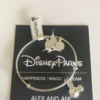 Dinsye Alex and Ani Mickey Mouse Birthstone Bangle April Silver Finish New
