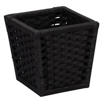 """Paper Rope Stained Waste Basket - Black (Black) (9.65""""H x 9.65""""W x 9.65""""D)"""