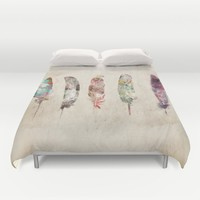 pop art feathers Duvet Cover by Bri.buckley