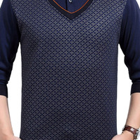 Ribbed Trim Layered Knitted Pullover Printing Sweater