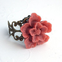 Rust Rose Sakura Blossom Antique Brass Filigree Adjustable Ring