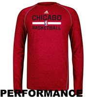 adidas Chicago Bulls Practice Performance Long Sleeve T-Shirt - Red