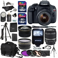"Canon EOS Rebel T5 EF-S 18-55mm f/3.5-5.6 IS STM Lens + Polaroid .43 Wide Angle & Telephoto Lens + Transcend 32GB 8GB Memory Cards + Filter Set + Flash + 57"" Tripod + Ritz Gear Bag + Accessory Bundle"