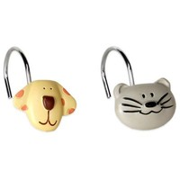 Raining Cats and Dogs Shower Curtain Hooks (Set of 12)