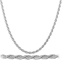 925 Rhodium Plated Sterling Silver 1.5mm Rope Chain Necklace - All Lengths Available (18 Inches)