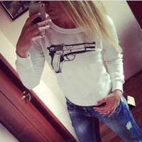Women's fashion long sleeve gun printed cotton blouse top t-shirt(White,BlackSize S/M/L) = 1956745156