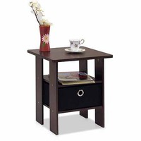 Petite End Table Bedroom Night Stand with Foldable Bin Drawer, Multiple Colors - Walmart.com