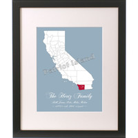 Custom Art Print California State County Family Names Sign Personalized Home Decor Wall Art  8x10