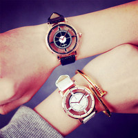 Top Brand Trendy Lovers Couple Watch Transparent Hollow Skeleton Women Casual Leather Ladies Wristwatches