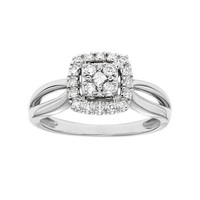 Cherish Always Diamond Square Halo Engagement Ring in 10k Gold (1/4 Carat T.W.) (White)