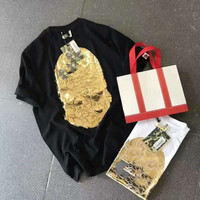 Fashion Bape Gold Short Sleeve T shirt