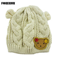 Knitted Baby Hat with Ears Cartoon Label Bear Animal Hats for Kids Solid Christmas Baby Girl Winter Hat Warm Toddler Hat Beanies