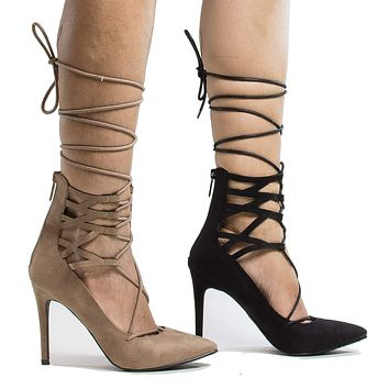 Lydia22 By Breckelle's, Pointy Toe Cuffed Corset Lace Up Ankle Wrap Stiletto Heels