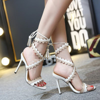 Summer Fashion Multicolor Hollow Tassel Crisscross Bandage Exposed Toe Sandals Women Heels Shoes