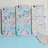Blue flower mobile phone case for iPhone 7 7 plus iphone 5 5s SE 6 6s 6plus 6s plus + Nice gift   box!